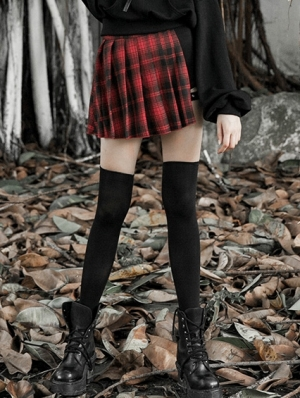 Red Street Fashion Gothic Punk Pleated Plaid Mini Skirt
