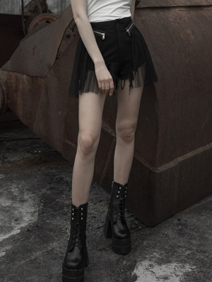 Black Street Fashion Gothic Punk Shorts with Detachable Skirt