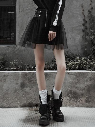 Black Street Fashion Gothic Punk Mini Skirt
