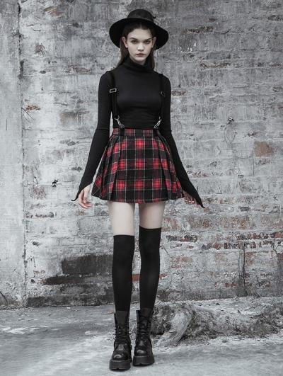 Red Street Fashion Gothic Punk Plaid Short Suspender Skirt