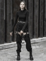 Black Street Gothic Punk Long to Short Overalls Trousers for Women