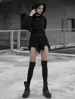 Black Street Gothic Punk Denim Strap Shorts for Women