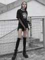 Black Street Gothic Punk Denim Strap Shorts for Women