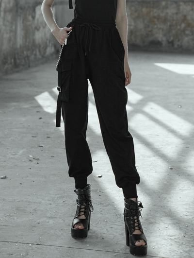 Women's Black Street Gothic Punk Overalls Trousers with Chain