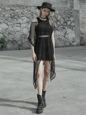 Black Street Gothic Punk Mesh Sexy Irregular Two Pieces Dress