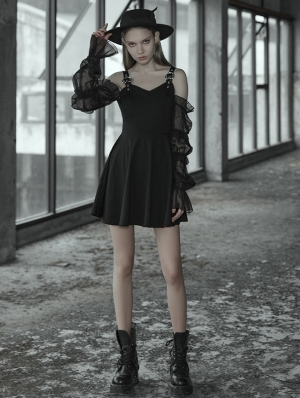 Black Street Sweet Gothic Short Dress with Detachable Sleeves