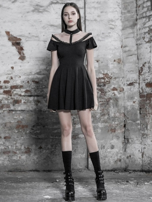Black Gothic Off-the-Shoulder A-Line Short Dress