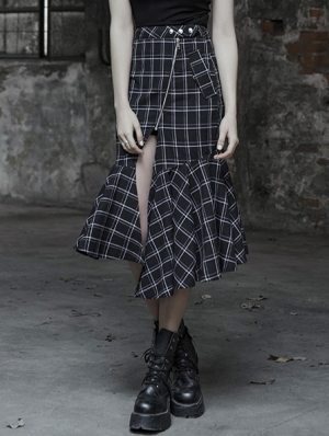 Black and White Street Gothic Punk Irregular Plaid Half Skirt