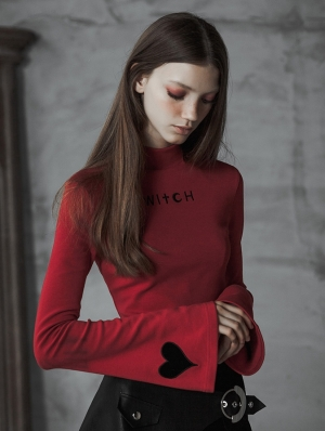 Red Street Gothic Witch Long Sleeve T-Shirt for Women