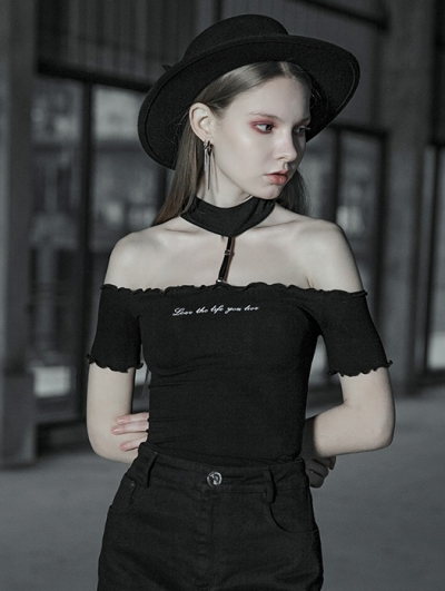 Black Street Gothic Punk Off-the-Shoulder Short Sleeve T-Shirt for Women