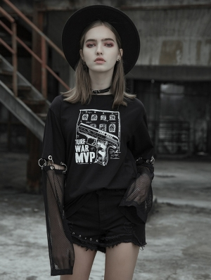 Women's Black Street Gothic Punk Printing T-Shirt with Detachable Sleeves