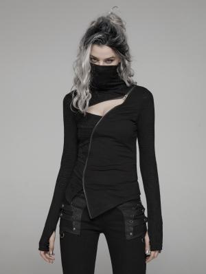 Black Gothic Punk Dark Turtleneck T-Shirt for Women