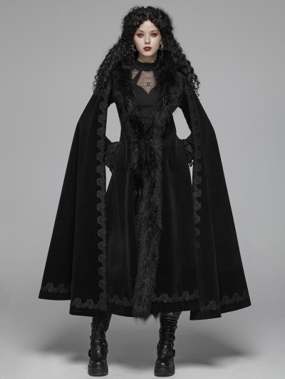 Black Gothic Vintage Morticia Addams Winter Warm Long Coat for Women