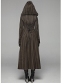 Brown Steampunk Striped Long Hooded Coat for Women