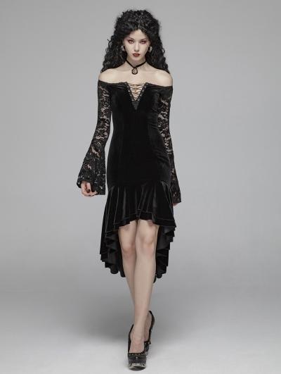 Black Elegant Gothic Off-the-Shouler Velvet Lace Fishtail Dress