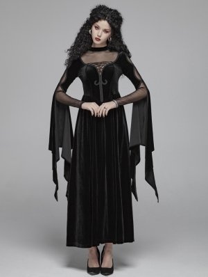 Black Gothic Witch Long Sleeve Velvet Maxi Dress