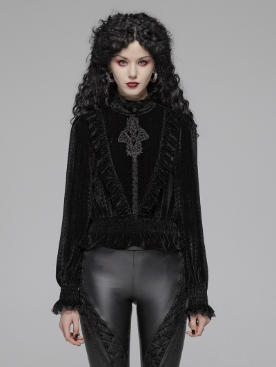 Black Vintage Gothic Velvet Long Sleeve Blouse for Women