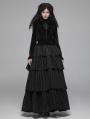 Black Vintage Gothic Velvet Long Sleeve Blouse for Women