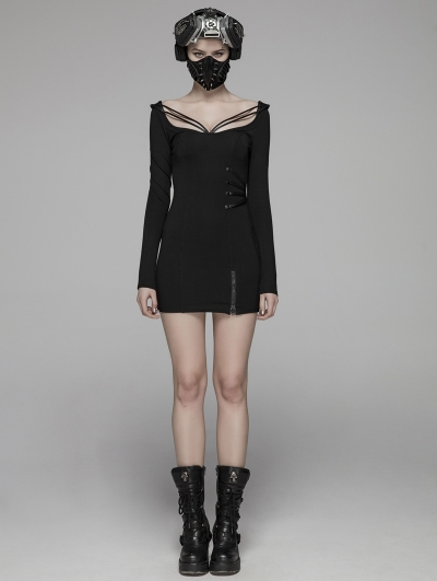 Black Gothic Sexy Punk Skinny Mini Dress