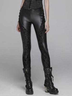 Black Gothic PU Lace Legging Pants for Women