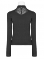 Black Gothic Hollow-out Long Sleeve T-Shirt for Women