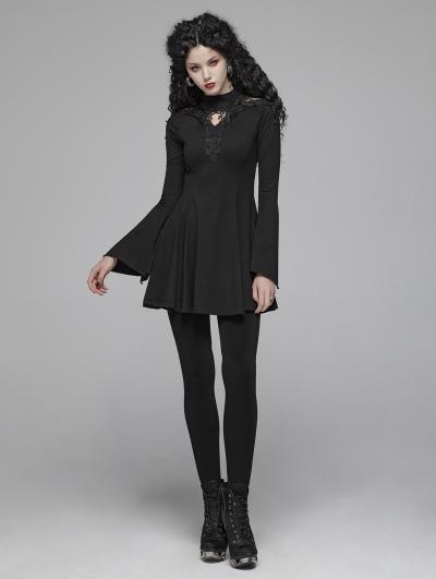 Black Gothic Lace Hollow-out A Line Short Dress
