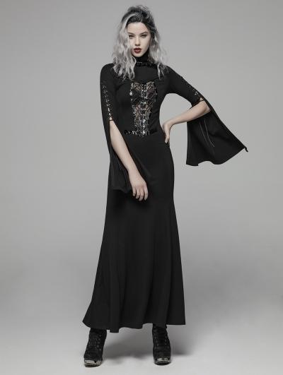 Dark Gothic Punk Long Trumpet Sleeve Sexy Maxi Dress