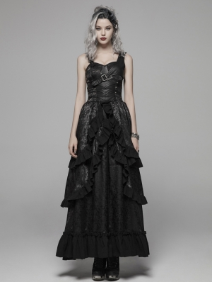 Black Gothic Steampunk Buckle Belt Long Dress