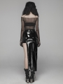 Black Gothic Punk PU Asymmetric Skirt for Women