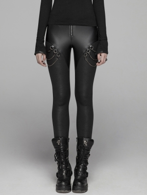 Black Gothic Punk Chain Legging Trousers for Women