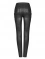 Black Gothic Punk Chain Legging Trousers for Women