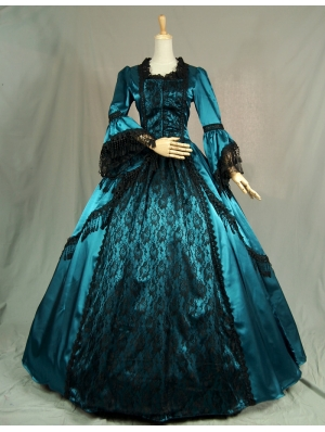 Blue Trumpet Sleeves Victorian Ball Gowns with Black Lace