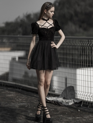 Black Gothic Harness Style Bubble Sleeve Sweet Short Dress