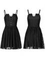 Black Gothic Lace Strap Short Dress