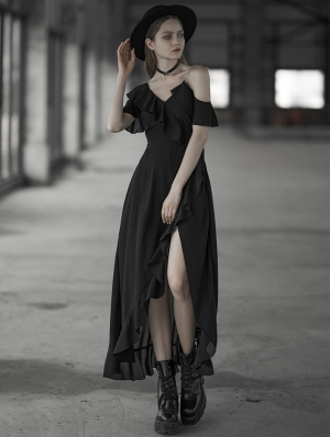 Black Gothic Chiffon flouncing Long Dress