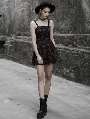 Black Gothic Chiffon Floral Sweet Short Dress