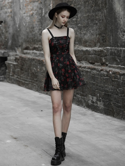 Black Gothic Chiffon Floral Sweet Short Dress