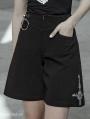 Black Street Fashion Gothic Punk Cross Pants for Women