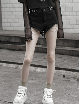 Black Street Fashion Gothic Punk Chain Shorts for Women