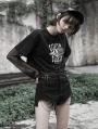 Black Street Fashion Gothic Punk Chain Shorts for Women