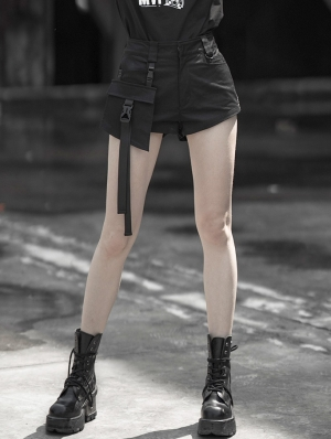 Black Street Fashion Gothic Punk Shorts with Detachable Pocket