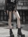 Black Street Fashion Gothic Punk Shorts with Detachable Pocket