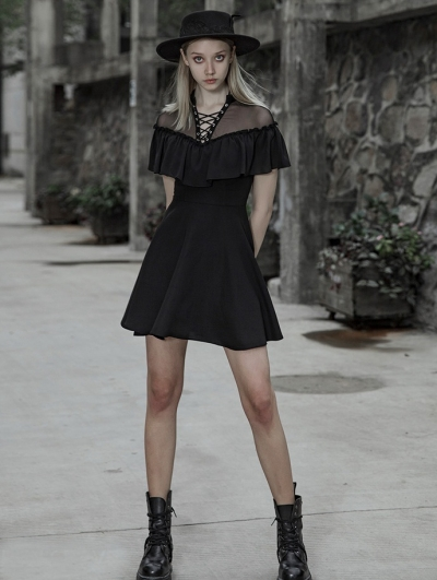 Black Gothic Chiffon flouncing Short Sweet Dress