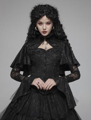 Black Vintage Gothic Lace Jacquard Shawl Shirt for Women