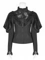 Black Vintage Gothic Lace Long Sleeve Shirt for Women