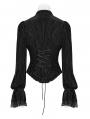 Black Vintage Gothic Velvet Long Sleeve Shirt for Women