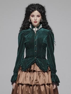 Green Vintage Gothic Velvet Long Sleeve Shirt for Women