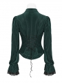 Green Vintage Gothic Velvet Long Sleeve Shirt for Women