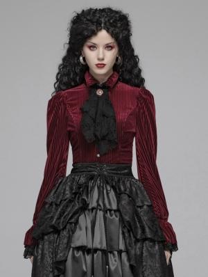 Red Vintage Gothic Velvet Long Sleeve Shirt for Women