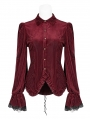 Red Vintage Gothic Velvet Long Sleeve Shirt for Women